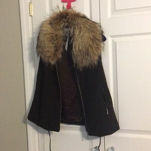 Fury fur collared vest BRAND NEW
